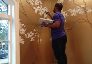 Painting A Mural On A Wall with Acrylic Paint Hand Painted Cherry Blossoms On Metallic Gold Wall …