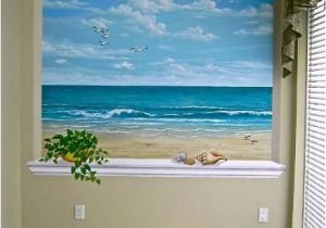Painting A Mural On A Wall with Acrylic Paint This Ocean Scene is Wonderful for A Small Room or Windowless Room