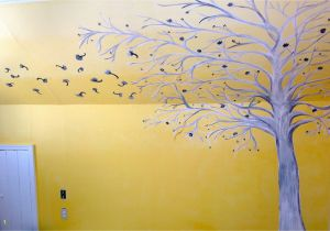 Painting A Tree Mural Ombre Yellow White and Grey Painted Bedroom Wall Mural