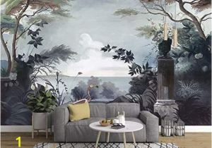 Painting Murals On Bedroom Walls Murwall Dark Trees Painting Wallpaper Seascape and Pelican