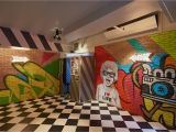 Painting Murals On Cement Walls Contiki Basement Officeinterior Officemural Handpainted