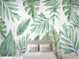 Palm Leaf Wall Mural 3d Wallpaper nordic Style Tropical Plant Banana Leaf Hand Painted Tv Background Wall Murals Living Room Bedroom Papel De Parede Wallpaper High