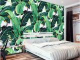 Palm Leaf Wall Mural Custom Wall Mural Wallpaper European Style Retro Hand Painted Rain forest Plant Banana Leaf Pastoral Wall Painting Wallpaper 3d Free Wallpaper Hd