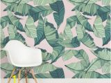 Palm Leaf Wall Mural Pink and Green Tropical Leaf Design Square Wall Murals