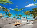 Palm Tree Beach Wall Mural 3d Fiji island Beach Palm Tree Entire Living Room Wallpaper