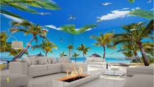 Palm Tree Beach Wall Mural 3d Fiji island Beach Palm Tree Entire Living Room Wallpaper
