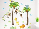 Palm Tree Mural Decal Cartoon Monkey Swing the Coconut Tree Wall Stickers for Kids