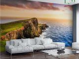 Panoramic Wallpaper Murals Sunset Wall Mural Ocean Coast Self Adhesive Peel & Stick Panoramic
