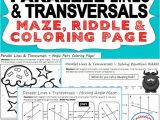 Parallel Lines and Transversals Angle Pairs Coloring Page Answers Mazes Riddles Coloring Pages