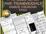 Parallel Lines and Transversals Angle Pairs Coloring Page Answers Parallel Lines and Transversals Zombie Coloring Page