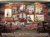 Paris Cafe Wall Mural 3d Wallpaper with Photo Frames Of London Paris and Route 66