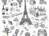 Paris Cafe Wall Mural Set Of Hand Drawn French Icons Paris Sketch Illustration