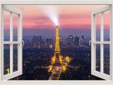 Paris Skyline Wall Mural Paris Wall Decal 3d Window Wall Decal Eiffel Windowview Frame Wall Decal Paris Window View Wall Mural Living Room Home Wall Decor