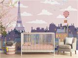 Paris Skyline Wall Mural Roof S Paris Mural Pink Children Wallpaper Of Paris