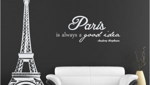 Paris themed Wall Murals Eiffel tower Wall Decal with Audrey Hepburn Quote Paris is Always