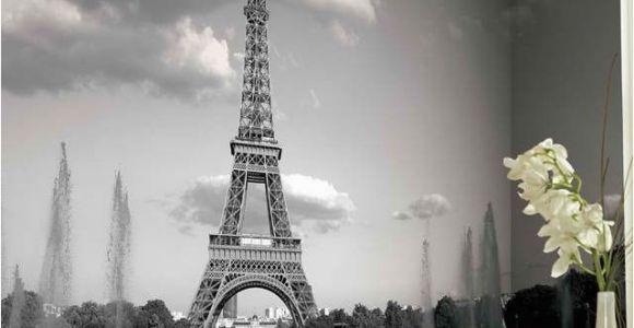 Paris Wall Murals Wallpaper Eiffel tower Mural Wallpaper Black and White