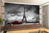 Paris Wall Murals Wallpaper France Paris Eiffel tower Retro Car Wall Mural