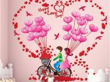 Party City Wall Murals Romantic Couples Home Decor Wall Stickers Room Decoration Bike Balloon Wall Sticker Decals Heart Flower Wall Mural for Valentine S Day Wallpaper Decal