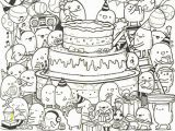 Pastry Coloring Pages Adult Coloring Page Happy Birthday Doodle Cake 9