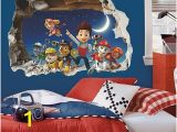 Paw Patrol Wall Mural 3d Cartoon Paw Patrol Snow Slide Wall Stickers Home Decor Kids Room Decoration