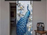 """Peacock Walk Wall Mural Kelay Fs 3d Door Wall Murals Wallpaper Door Stickers Decor Door Decals Self Adhesive Door Mural Poster Vinyl Door Wall Stickers 35 5""""x 78 7"""""""
