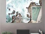 Peel and Stick Wall Murals Beach Aeiral Beach Rocky Pool Wall Art Zapwalls