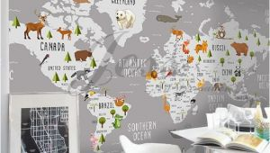 Peel and Stick Wall Murals Canada 3d Nursery Kids Room Animal World Map Removable Wallpaper