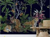 Peel and Stick Wall Murals Uk Tiger Summer Botanical Removable Wallpaper Wall Mural