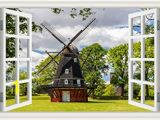 Peel and Stick Wall Murals Window Amazon Greathomeart Modern Window Scenes Windmill 3d