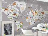 Peel and Stick World Map Wall Mural 3d Nursery Kids Room Animal World Map Removable Wallpaper