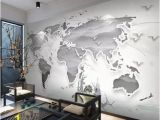 Peel and Stick World Map Wall Mural 3d Simple Metallic World Map Wallpaper Removable Self