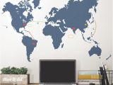 Peel and Stick World Map Wall Mural Destination World Map Wall Decal