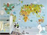 Peel and Stick World Map Wall Mural Fantastic Animal World Map Wallpaper Nursery Wall Mural Removable Kids Wall Paper Self Adhesive Geography Wall Decor for Children Bedroom