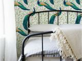Peelable Wall Murals Peacock Removable Wallpaper Traditional Green Print Wall Mural