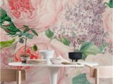Peony Flower Mural Wall Art Wallpaper Lush Vintage Roses and Lilac Wall Mural Wallpaper Flowers