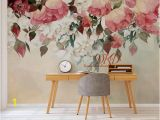 Peony Flower Mural Wall Art Wallpaper Peony Flowers Mural Self Adhesive Wallcoverings Vintage Watercolor Floral Wallpaper Nursery Decor Wall Mural Art Wall Stickers