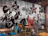 Personalised Graffiti Wall Mural Custom Size 3d Wallpaper Living Room Mural Retro Nostalgic Hip Hop Rock Music Bar Ktv Background Wall Wallpaper Non Woven Wall Sticker Hd