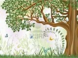 Peter Rabbit Wall Murals Vector Iillustration Of An Oak Tree In A Meadow