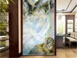 Photo Into Wall Mural Diy Indoor Waterfall 3d Wallpaper Y Beauty Girl with Fierce