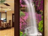 Photo Into Wall Mural Wallpaper Beautiful Waterfall Swan Pink Flower Backdrop Wall Mural Hotel Lobby Living Room Entrance Decor Papier Peint 3d Window Wallpaper Women