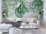 Photo Wall Mural Custom Custom Wallpaper Mural Hand Painted Tropical Plants Leaves