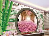 Photo Wall Mural Door 3d Wall Murals Wallpaper Fantasy 3d Spring Green Leaves Round Door Jiangnan Garden Tv Background Wall Xp Wallpapers Yellow Wallpaper From
