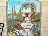 Photo Wall Mural Door Garden Mural On A Cement Block Wall Colorful Flower Garden