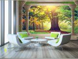 Photo Wall Mural Door Großhandel High End Benutzerdefinierte 3d Wand Wandbilder Tapete Schönheit Roman Spalte Holz sonnigen Landschaft 3d Hintergrund Wand Papier Wohnzimmer