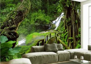 Photographic Wall Murals Custom Wallpaper Murals 3d Hd Nature Green forest Trees Rocks