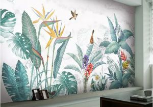 Photographic Wallpaper Murals Modern nordic Hand Painted Tropical Plants Flower Bird Leaf