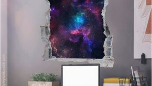Pictures Into Wall Murals Space Wall Decal Galaxy Wall Sticker Hole In the Wall 3d