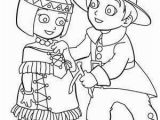 Pilgrim and Indian Coloring Pages Indian Girl and Pilgrim Boy Coloring Page