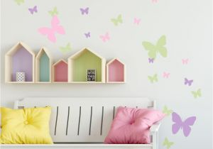 Pin Up Girl Wall Mural butterfly Wall Decals Pink Lilac & Sage Green Appliques