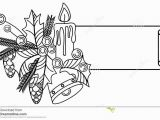 Pine Cone Coloring Page Contour Christmas Banner with Holly Berry Lighting Candle